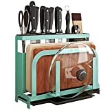 MiniInTheBox Pot Lid Rack Holder Multi-fonction Kitchen Tool Storage Rack Can Organize Chopping Board, Knife,Chopsticks, Spoon (Sea Green)