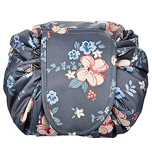Portable Cosmetic Bag Drawstring Makeup Bag Waterproof Quick Pack Travel Case Toiletry Bag Pouch Casual Lazy Large Capacity Storage Organizer, Dark Flower
