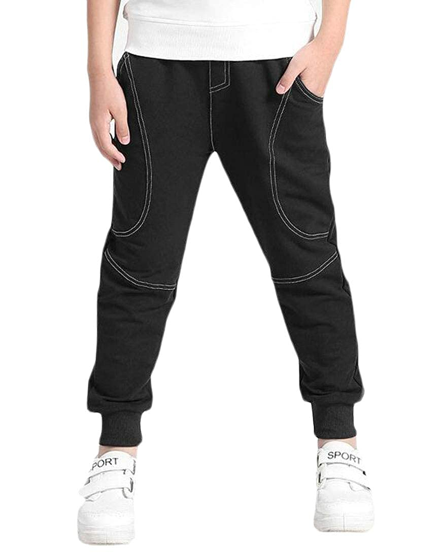 Wofupowga Boys Trousers Casual Thick Cotton Fleece Sport Cute Pants