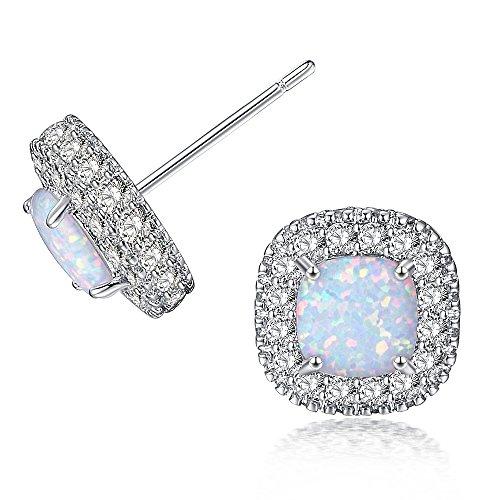 OPALBEST Stud Earrings, Fashion Jewelry Cubic Zirconia Halo Earrings for (Halloween Earrings Australia)