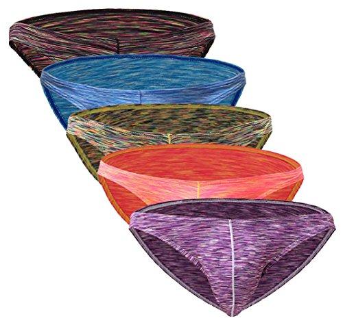 Seaoeey Boys Ice Silk Briefs for Men's Underwear Stretch Shorts Low Waist 5 Packs Red-Purple Red-Cyan Blue-Blue-Dark Black XL(Waist:33