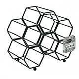 DINY Home & Style Hexagonal Free Standing Wine Rack (Black)