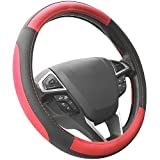 red and black - SEG Direct Black and Red Microfiber Leather Auto Car Steering Wheel Cover Universal 15 inch