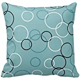 Aqua Black and White Circles Pattern Throw Pillow Case Cushion Cover Square Decorative 18X18 Inches Two Sides