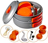 Camping Mess Kit 4 Person Dinnerware Set With Mesh Bag