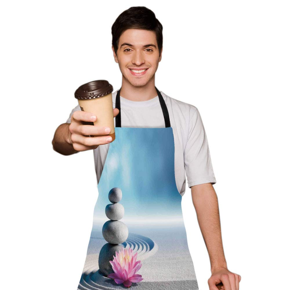 iPrint Personality Apron,Spa Decor,Stones and Lotus Flower Over Sand Meditation Harmony Balance Flourish Your Spirit Theme,Grey Blue Pink,Picture Printed Apron.29.5''x26.3'' by iPrint (Image #3)