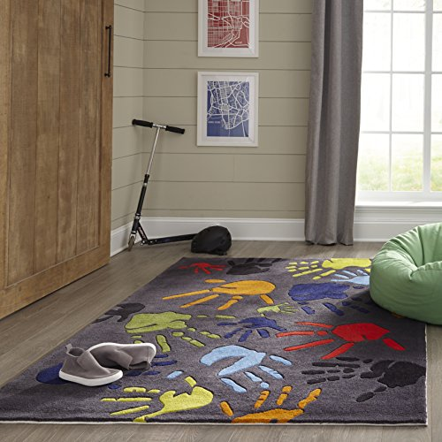 Momeni Rugs Lil Mo Whimsy Collection, Kids Themed Hand Carved Tufted Area Rug, 4 x 6 , Multicolor Handprints on Grey