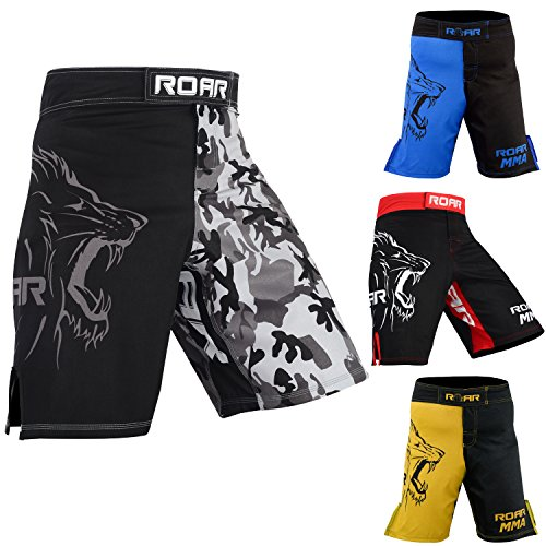 ROAR MMA Boxing Shorts Mixed Martial Art MUay Thai BJJ Grappling UFC Fighting (Xlarge, Grey/Camo)