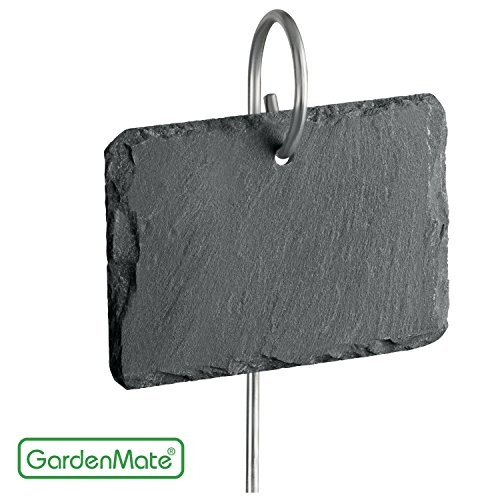GardenMate 10-Pack 22'' tall Slate Plant Labels with Metal Rod - Slate tag 4''x2 3/4'' - Natural Style by GardenMate