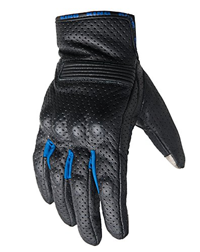 Motorcycle Biker Gloves Black Premium Leather | Touchscreen | Padded All Weather Feature for Men and Women | Breathable Moisture Wick Air Flow Technology Between Fingers | SWIFT (Blue-Lg)