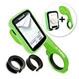 Tuff-luv 3 in 1 Combo Silicone Twin Dual layer Double Protective Skin Case for Garmin Edge 820 with Out-Front Handlebar Mount - Green/Black