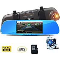 Dash Cam Mirror Camera, 5 Night Vision Car Camera, FHD 1080P 170°Wide Angle Dual Lens DVR Video Recorder with Rearview Backup Camera, G-Sensor, Parking Mode and Loop Recording, With 16GB SD Card