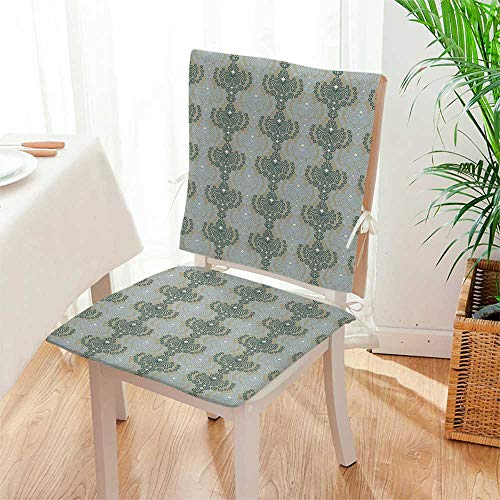Mikihome 2 Piece Set Chair seat Pads Art Damask Decor Floral Ornament Background Wallpaper Pattern Print Blue and Taupe Dining Garden Patio Mat:W17 x H17/Backrest:W17 x H36