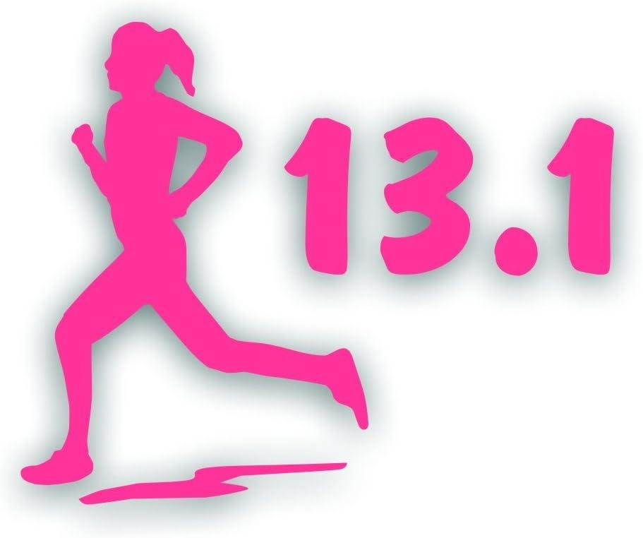 Marathon 26.2 GIRL WOMAN running decal bumper sticker Olympic mile runner PINK