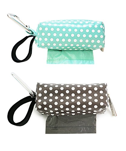 Oh Baby Bags Diaper Bag Clip-On Dispensers with Disposable Bags for Dirty Diapers and Other Messes -Set of 2 - Sea Dots and Gray Dots