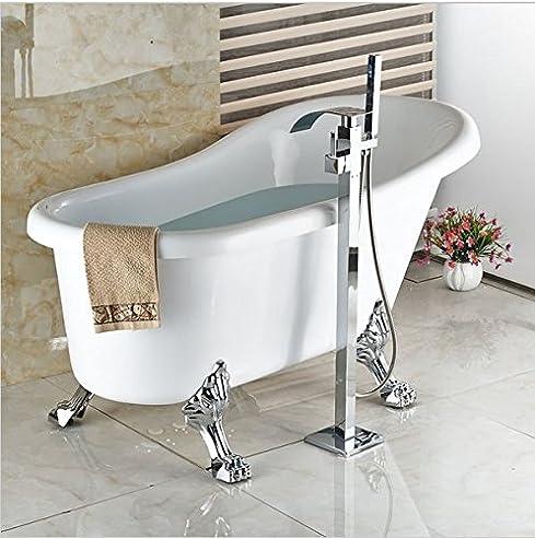 GOWE Auf dem Boden montierte Wasserfall-Badewanne mit Wasserhahn ... | {Badewannen armaturen freistehend 18}