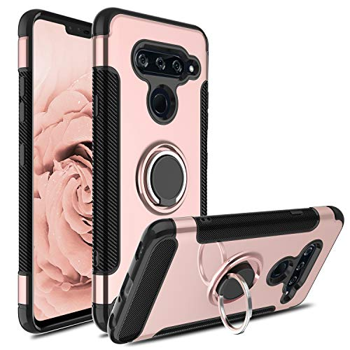LG V40 Case, LG V40 Thinq Case, Hybrid Dual Layer 360 Degree Rotating Ring Holder Kickstand Case with Magnetic Car Mount Cover-Pink ()