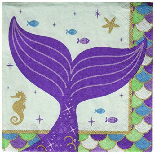 (Amscan 501975 Mermaid Wishes Beverage Napkins Party Supplies, 6.5