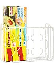 SimpleHouseware Wall Door Mount Kitchen Wrap Organizer Rack, White