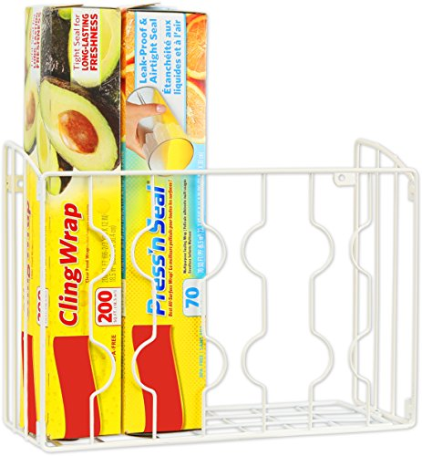 Simple Houseware Wall Door Mount Kitchen Wrap Organizer Rack, White ()