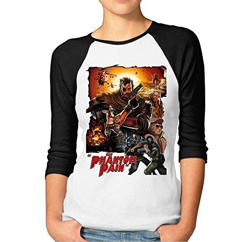 Price comparison product image Avis N Metal Gear Solid 5 Women's 3 / 4 Sleeve Raglan Baseball Tshirts Black XX-Large