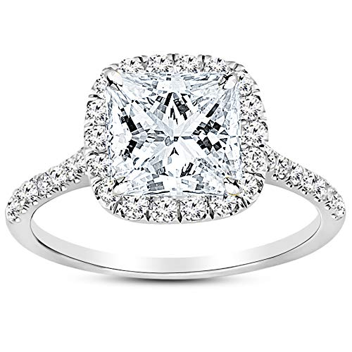 1.45 Carat GIA Certified 14K White Gold Halo Princess Cut Diamond Engagement Ring (0.7 Ct E Color VVS2 Clarity Center) ()