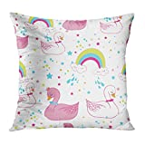 Houlor Throw Pillow Cover 16 X 16 Inches Swan Rainbow Cute Kids Pattern Animal Art Background Print Pillowcase Living Room Bedroom Dorm Car Hidden Zipper Home Decor Home Style Cushion Case