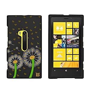 Slim Light Weight 2 piece Snap On Non-Slip Matte Hard Design Rubber Coated Rubberized Case With Premium Protection For Nokia Lumia 920 Window 8 Smartphone - Dandelion Love - Black - Retail Packaging