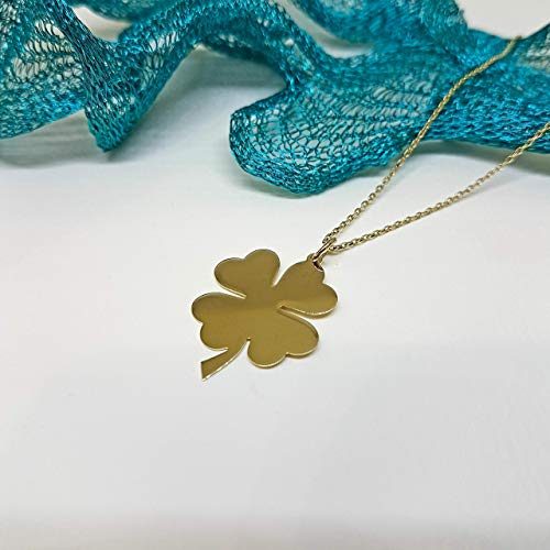 14K Gold Elegant Four Leaf Clover Tiny, Dainty,Delicate and Trendy Pendant Necklace for Good Luck