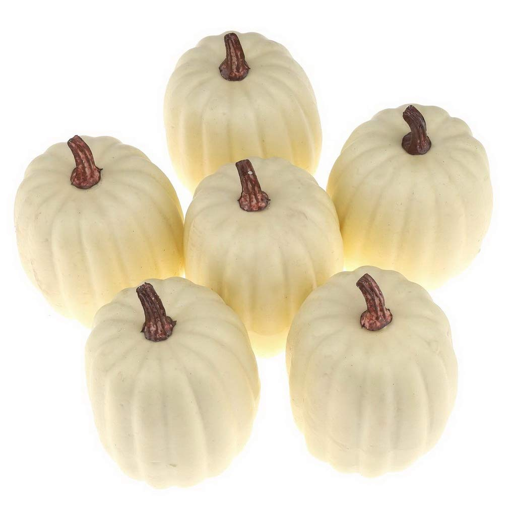 Woration High Grade Fake Pumpkins Sets Artificial Milk White Pumpkin Decoration For Fall Harvest Halloween Thanksgiving Party Decorating 6 Pcs Home Kitchen Dprd Tasikmalayakab Go Id