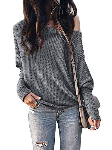 Imily Bela Womens Off The Shoulder Tops Lightweight Pullover Sweater Knit Casual Blouse Dark Grey