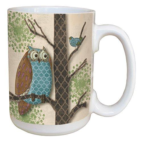 Tree-Free Greetings 45514 Paul Brent Fantasy Owls Panel I Ceramic Mug with Full-Sized Handle, 15-Ounce