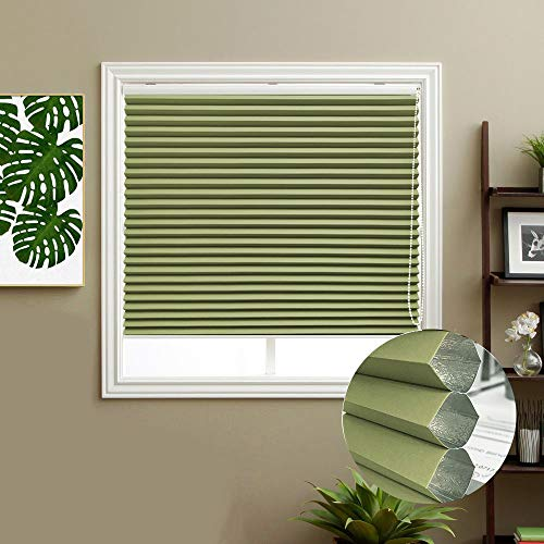 Keego Blackout Cellular Shades, Custom Size Window Blinds, Green, 30″ W x 72″ H, Corded Room Darkening Honeycomb Blinds, Backside in White