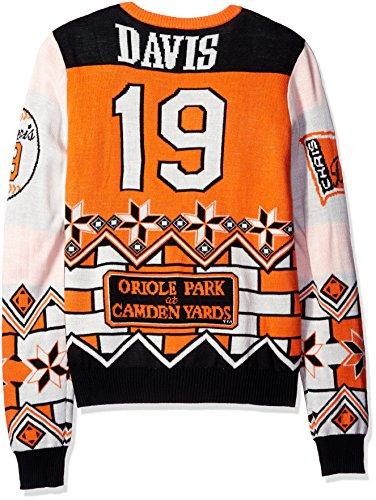 Nba Christmas Uniform - KLEW MLB Baltimore Orioles Chris Davis #19 Ugly Sweater, X-Large, Orange