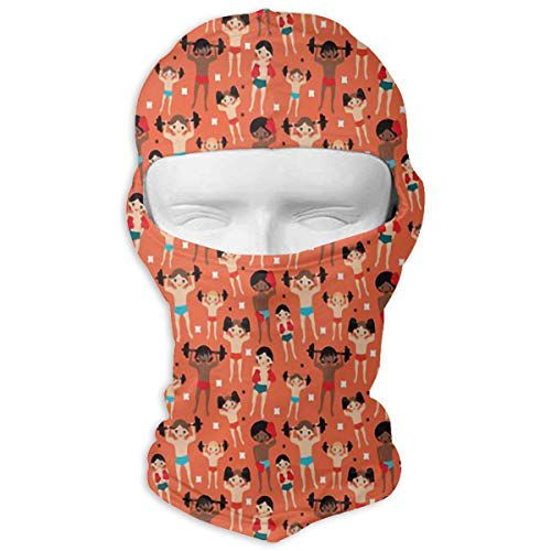 Windproof Balaclava, Weight Lifting Body Builders Pattern Full Face Mask Hood for Ski&Snowboard White