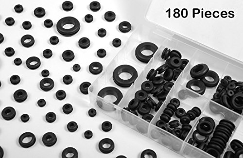 (180 Piece Rubber Grommet Kit Assortment - Heavy-Duty Pieces In Different Sizes - For Car Repair, RV Wiring Jobs, Restorations, Boats, Wires, Cables, And Firewall - By Katzco)
