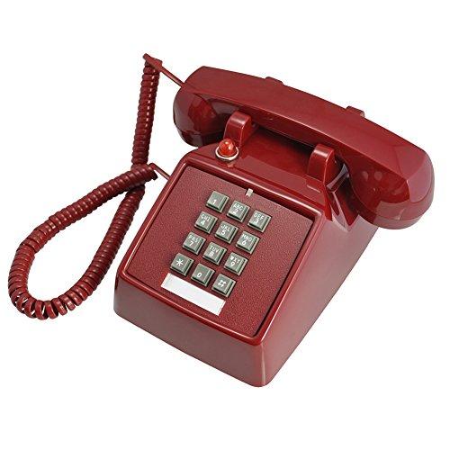 Hotel Telephone (EDTara Single Line Desk Telephone for Home Restaurant Hotel Decoration Red)