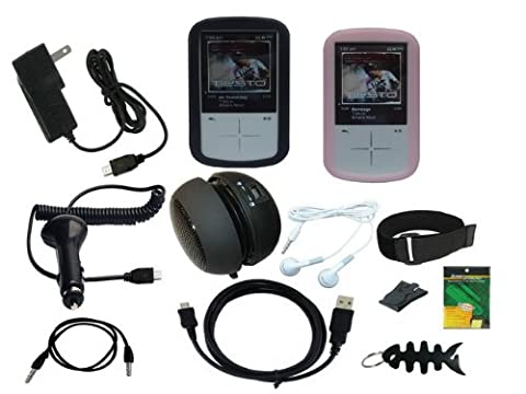 iShoppingdeals - Accessories Bundle Combo for Sandisk Sansa Fuze+ MP3 Player SDMX20R: Black/Pink Soft Silicone Skin Case, Car Charger, Wall AC Charger, USB Data Cable, 3.5mm Audio Cable, Rechargeable Speaker, Headphone, Armband, Beltclip, Screen Protector, and Fishbone (Sansa Fuze Speakers)