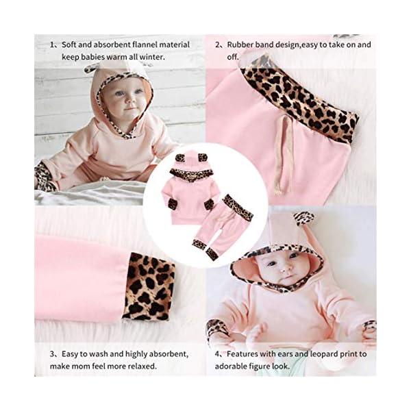 EDOTON Outfits Suit Neonato Bambina Manica Lunghe Cappuccio Vestiti Cappotto Floreale Top Felpa & Pantaloni Due Pezzi… 4