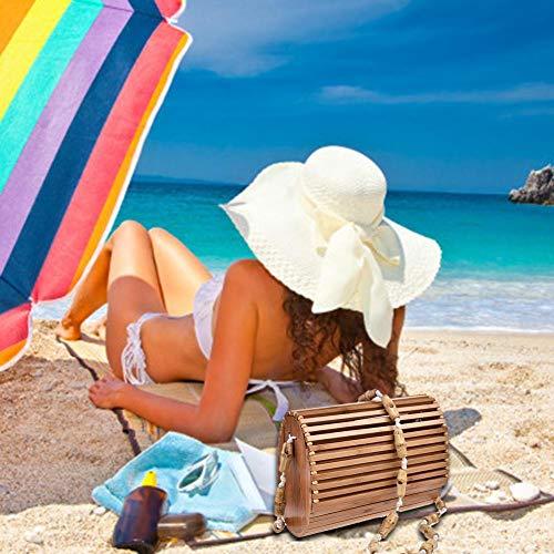 Da Borsa Tracolla A In Singola Spiaggia Donna Spalla Con Rattan Ovale Mano Biback Bambù HxfTqwdtf