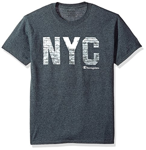 Champion Men's Classic Jersey Graphic T-Shirt, Charcoal Heather/City Walls, X Large