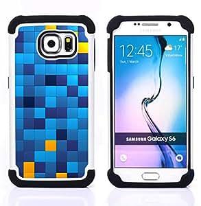 BullDog Case - FOR/Samsung Galaxy S6 G9200 / - / SQUARES PATTERN BLUE YELLOW CHECHKERED /- H??brido Heavy Duty caja del tel??fono protector din??mico - silicona suave