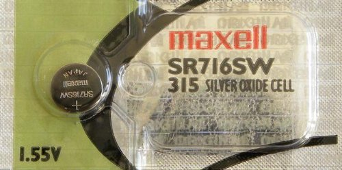 One (1) X Maxell 315 SR716SW SB-AT Silver Oxide Watch Battery 1.55v Blister Packed