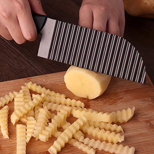 e Waves French Fry Cutter Crinkle Potato Slicer Titanium Stainless Steel ()