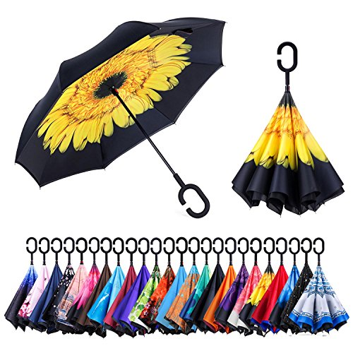 AmaGo Windproof Inverted Umbrella - UV Protection Double Layer Reverse Folding Long Self Standing Umbrella with C-Shape Handle for Car Rain Outdoor Travel(Persimmon)