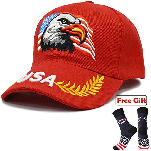 - Men USA Patriotic American Eagle Hat Baseball Cap Embroidery 3D Red