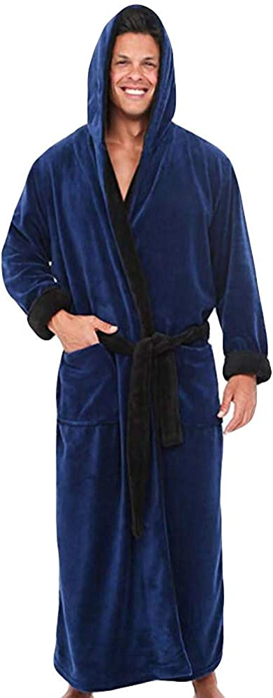 KUDICO Mens Plus Size Dressing Gown Bathrobe Loungewear Soft Comfort Solid Color Long Home Housecoat Jumpsuits