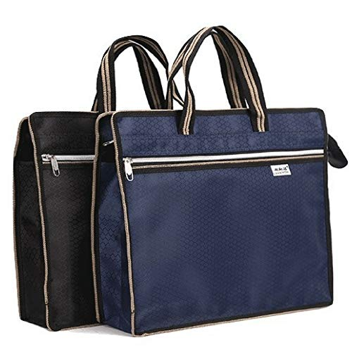 2 Business Document Bag Travel Messenger Bags With Zipper Lightweight Waterproof Fabric Carrying Notebook Portfolio, File Folder, Planner, Journal Book For Home School Office Work Meeting - Clutch Case Carrying Notebook