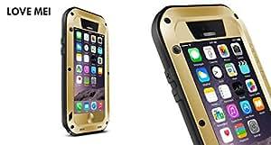 Iphone 6 Case,love Mei Waterproof Shockproof Dustproof Rugged Protective Hard Metal Case for Apple Iphone 6(4.7) (Gold)