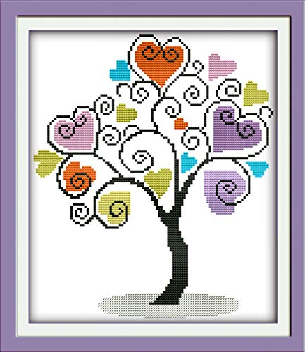 Printed Cross Stitch Kits 11CT 13X15 inch 100% Cotton Holiday Gift DIY Embroidery Starter Kits Easy Patterns Embroidery for Girls Crafts DMC Stamped Cross-Stitch Supplies Needlework Giving Tree